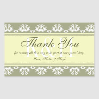 Green lace border thank you out of town gift bag rectangular sticker