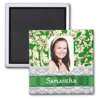 Green lace damask personalized photo magnets