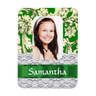 Green lace damask personalized photo rectangular magnet