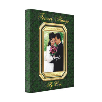 Green Lace & Gold Frame Forever Photo Canvas Print