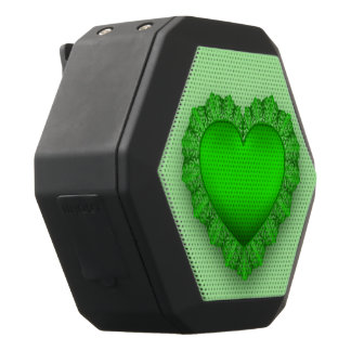 Green Lace Heart Customizable Black Bluetooth Speaker
