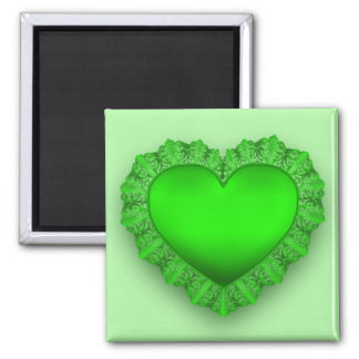 Green Lace Heart Magnet