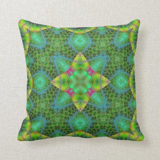 Green Lace Kaleidoscope Design No 1 Throw Pillow
