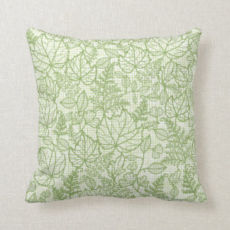 Green lace leaves pattern throw pillow