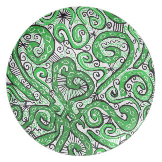 green lace melamine plate