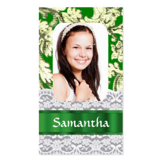 Green lace personalized photo Double-Sided standard business cards (Pack of 100)