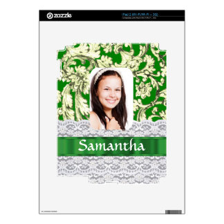 Green lace personalized photo template iPad 2 skins