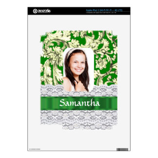 Green lace personalized photo template iPad 3 skin