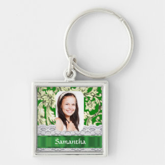 Green lace personalized photo template keychain