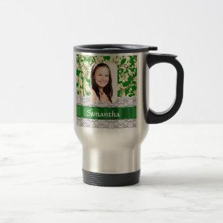 Green lace personalized photo template travel mug