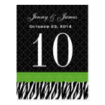 Green Lace Zebra Custom Name Wedding Table Number Post Card