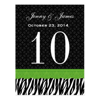 Green Lace Zebra Custom Name Wedding Table Number Postcard
