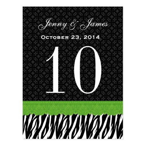 Green Lace Zebra Custom Name Wedding Table Number Post Card