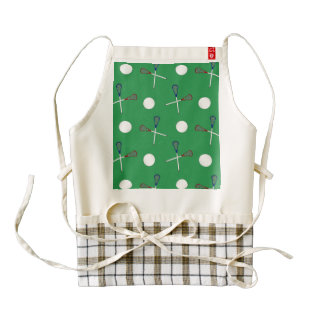 Green lacrosse pattern zazzle HEART apron