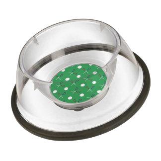 Green lacrosse pattern pet bowl