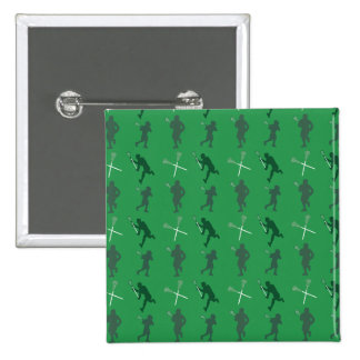 Green lacrosse silhouettes pinback button