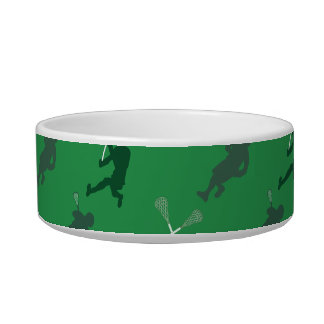 Green lacrosse silhouettes pet food bowls
