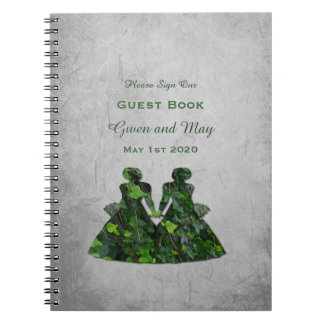 Green Ladies Ivy & Silver Handfasting Guest Book Spiral Note Books
