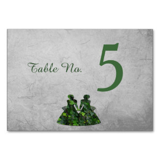 Green Ladies Ivy & Silver Handfasting Table Card