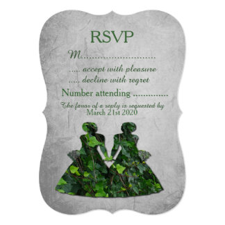 Green Ladies Ivy & Silver Lesbian Handfasting RSVP Card