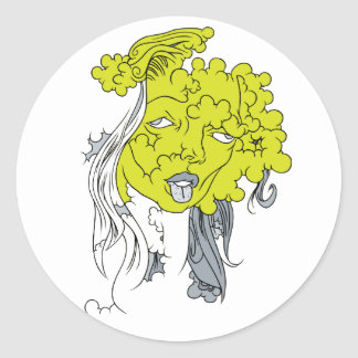 Green Lady Classic Round Sticker