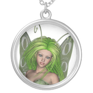 Green Lady Fairy 1 - 3D Fantasy Art - Round Pendant Necklace