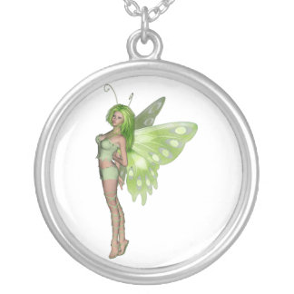 Green Lady Fairy 2 - 3D Fantasy Art - Round Pendant Necklace