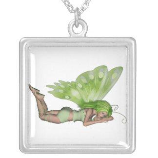 Green Lady Fairy 3 - 3D Fantasy Art - Square Pendant Necklace