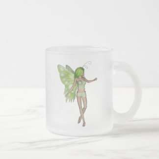 Green Lady Fairy 5 - 3D Fantasy Art - Frosted Glass Coffee Mug