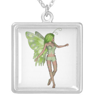 Green Lady Fairy 5 - 3D Fantasy Art - Square Pendant Necklace
