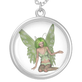 Green Lady Fairy 7 - 3D Fantasy Art - Round Pendant Necklace