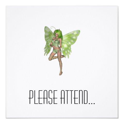 Green Lady Fairy 8 - 3D Fantasy Art - 5.25x5.25 Square Paper Invitation Card