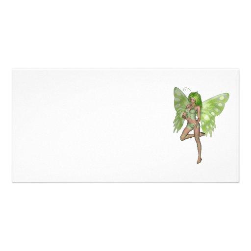 Green Lady Fairy 8 - 3D Fantasy Art - Photo Greeting Card