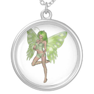 Green Lady Fairy 8 - 3D Fantasy Art - Round Pendant Necklace