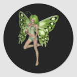 Green Lady Fairy 8 - 3D Fantasy Art - Round Stickers