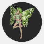 Green Lady Fairy 8 - 3D Fantasy Art - Classic Round Sticker