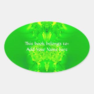 Green Lady Slipper Orchid Fractal Oval Sticker