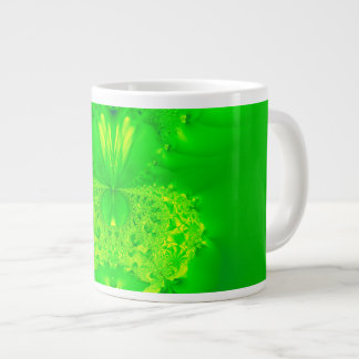 Green Lady Slipper Orchid Fractal Jumbo Mugs