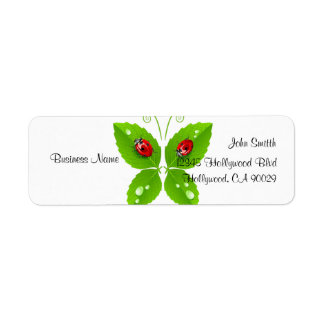 Green Ladybug Butterfly Business Address Label