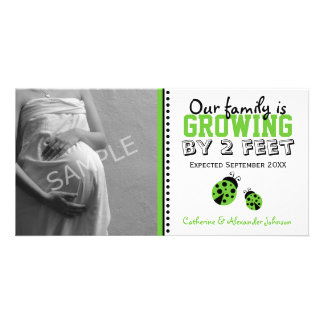 Green Ladybugs Pregnancy Announcement Photo Card