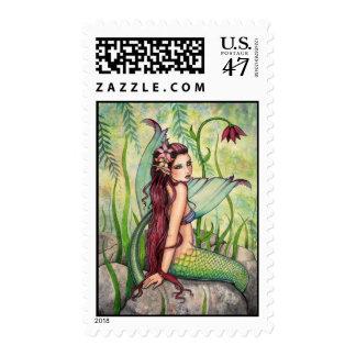Green Lagoon Mermaid Postage Stamps