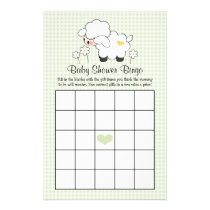 Green Lamb Baby Shower Bingo Flyer