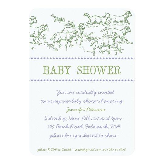 Green Lamb Baby Shower Invitation - unisex