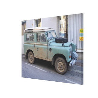 Green Land Rover Canvas Print