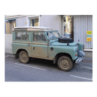 Green Land Rover Postcard