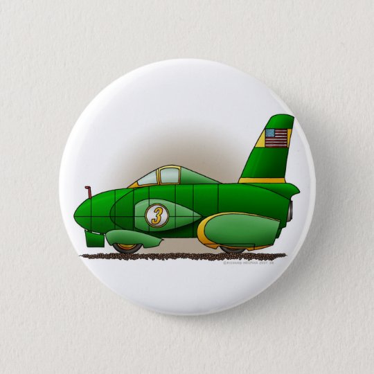 Green Land Speed Race Car Pins