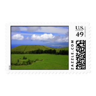 Green landscape postage