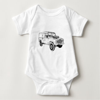 Green Landy Land Rover Classic Vintage Hiking Duck Baby Bodysuit