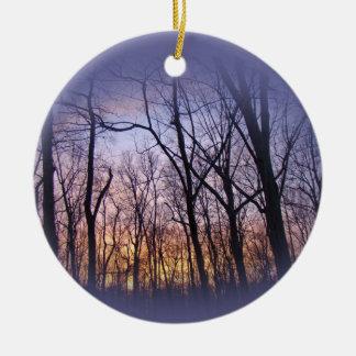 Green Lane PA Woodland Winter Sunset Ceramic Ornament