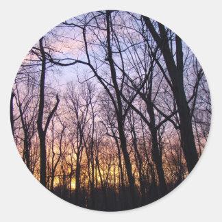 Green Lane PA Woodland Winter Sunset Classic Round Sticker